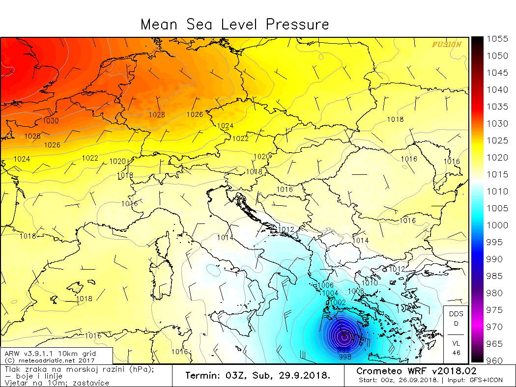 "Prognoza lokacije ""landfalla"", MeteoAdriatic ARW, za tri dana unaprijed"