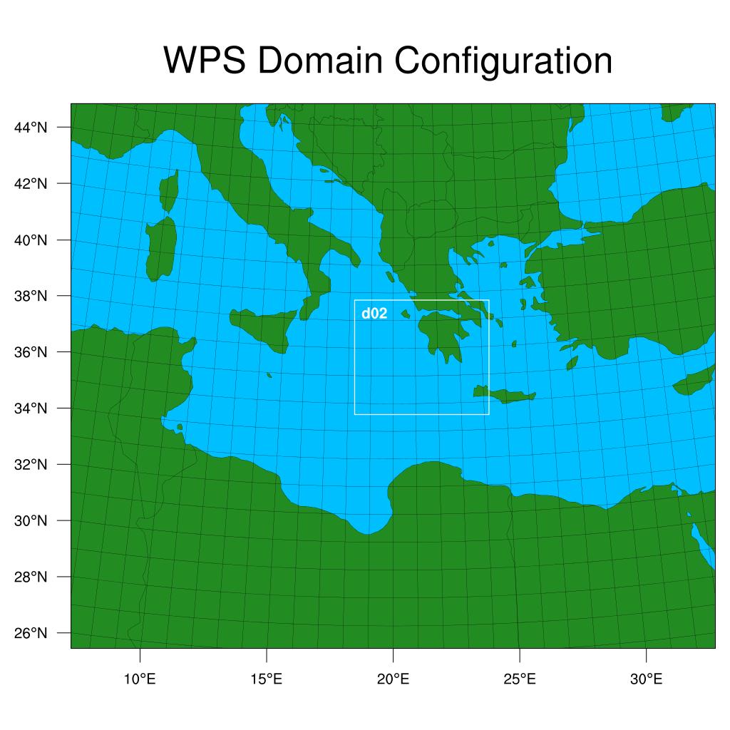 Konfigurirana područja domena WRF modela, rezolucije 10 i 2 kilometra