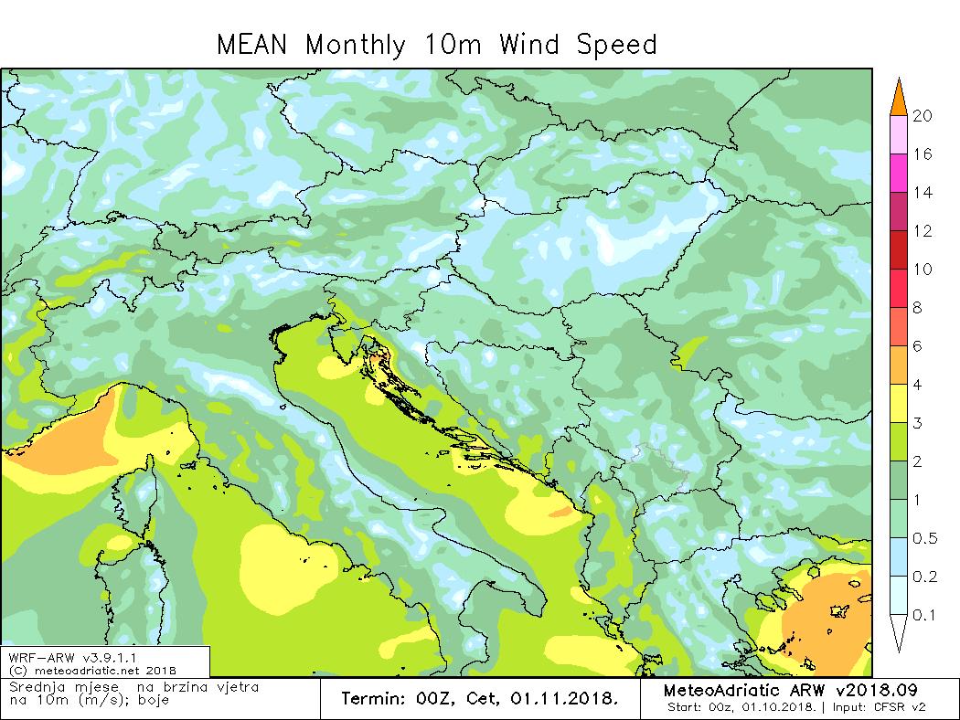 Prosječna brzina vjetra