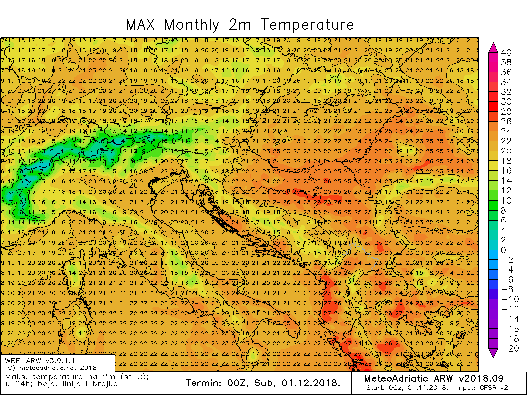 Maksimalna temperatura studeni 2018.