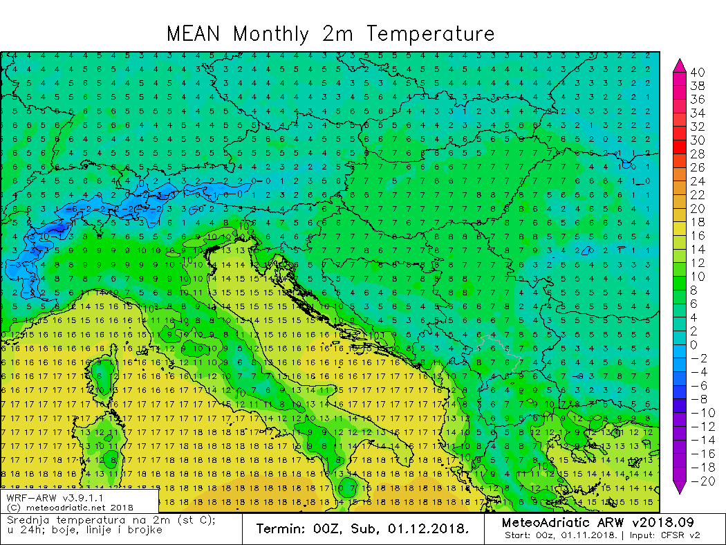 Prosječna temperatura studeni 2018.