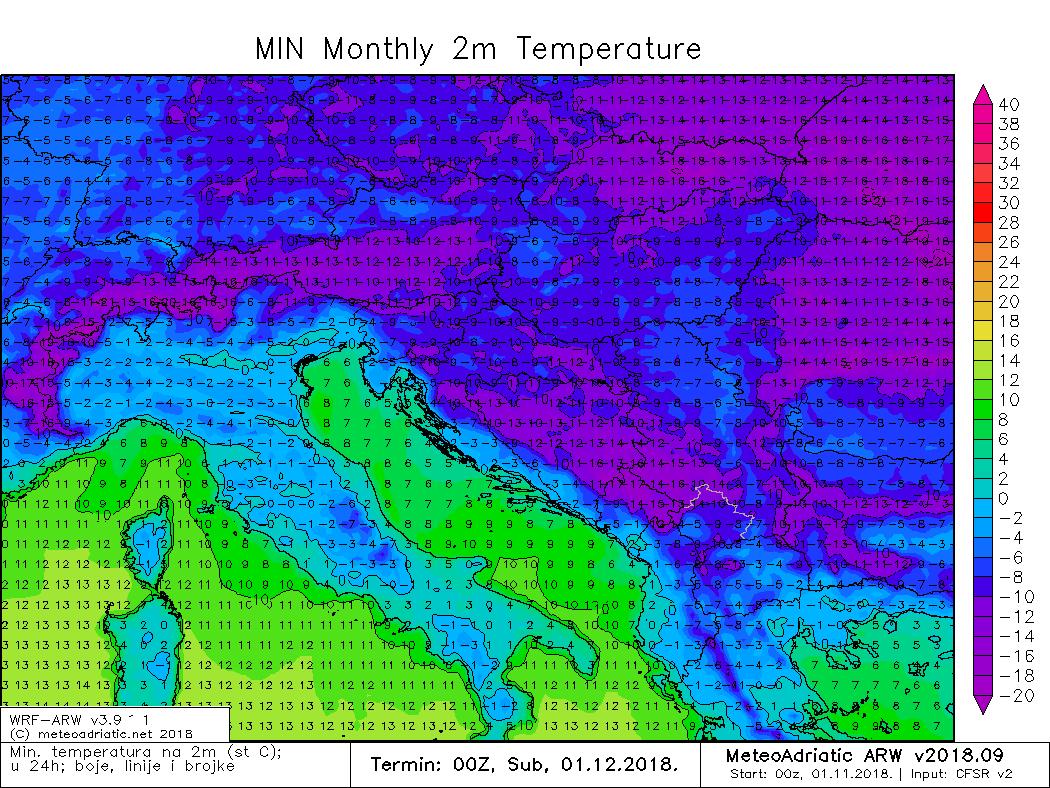 Minimalna temperatura studeni 2018.