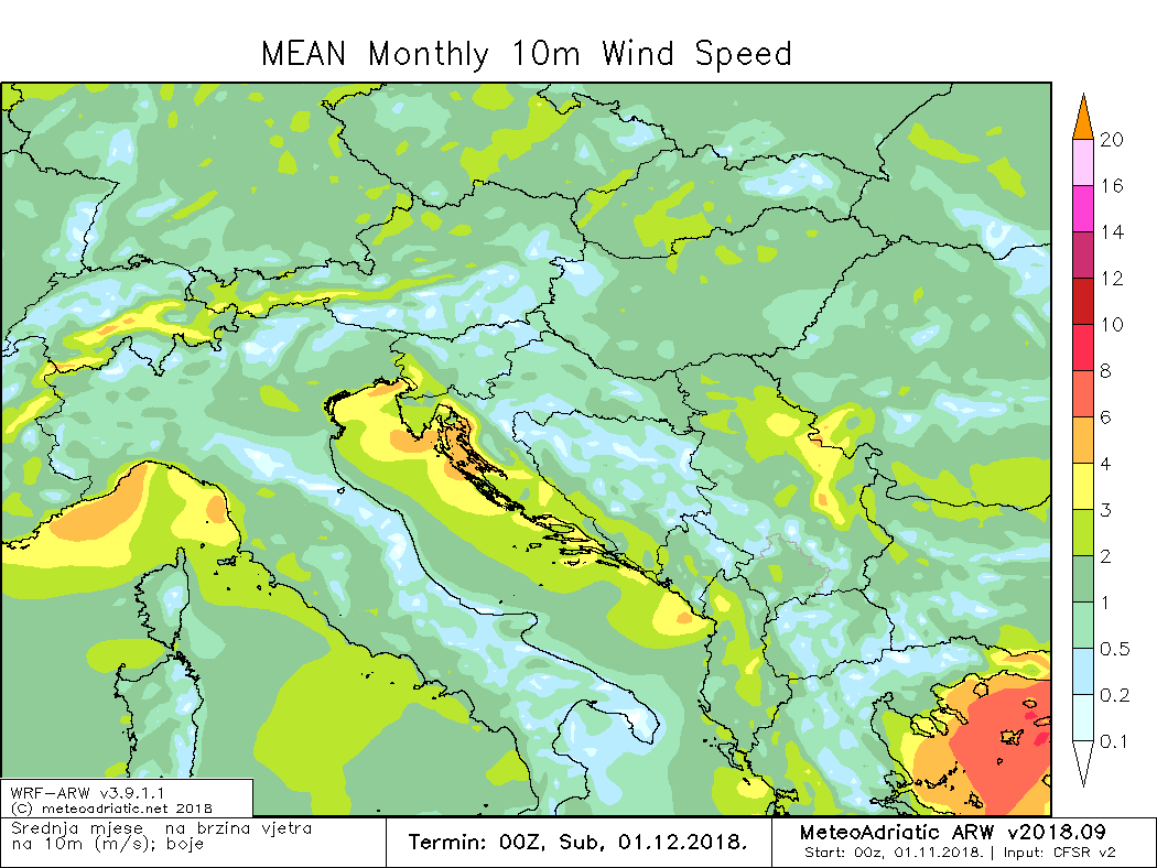 Prosječna brzina vjetra, studeni 2018.