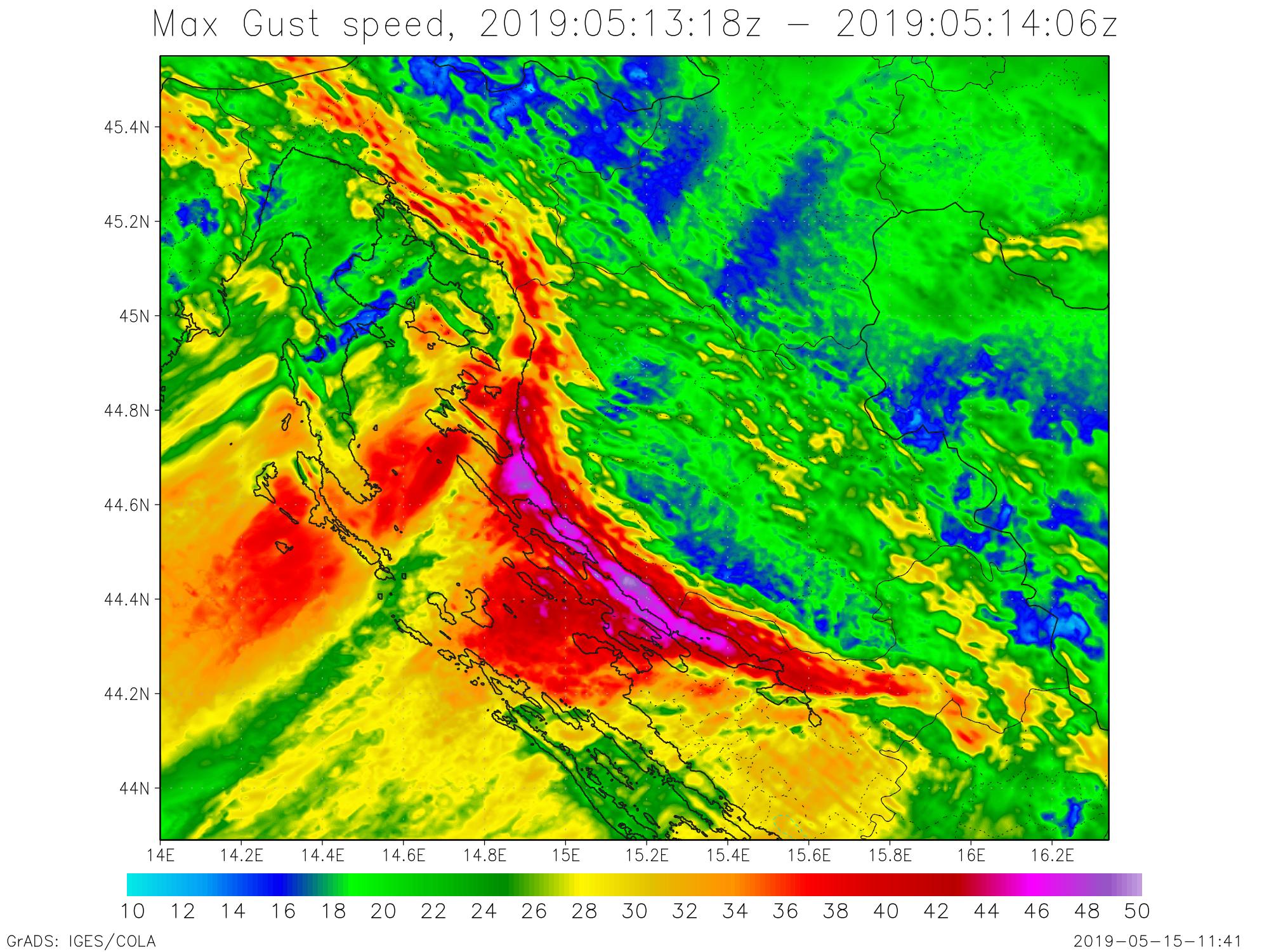 Preliminarna analiza orkanske bure na Jadranu, 13. i 14. svibnja 2019.