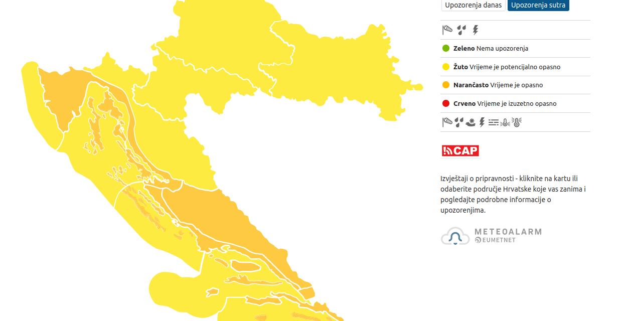 Izražena promjena vremena u četvrtak donosi nevere i Dalmaciji